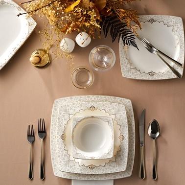 Karaca karaca-muhurcream Karaca Mühür Cream 60 Parça 12 Kişilik Yemek Takımı Gold Kare Altın